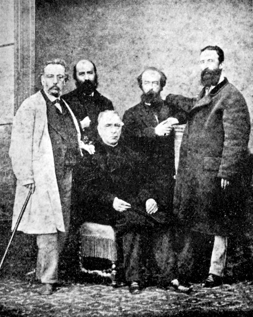 Testimonio del viaje de Fanelli y Reclus en la Península.  De izquierda a derecha (derechos): Fernando Garrido, Élie Reclus, Aristide Rey y Giuseppe Fanelli, y José María Orense (sentado)