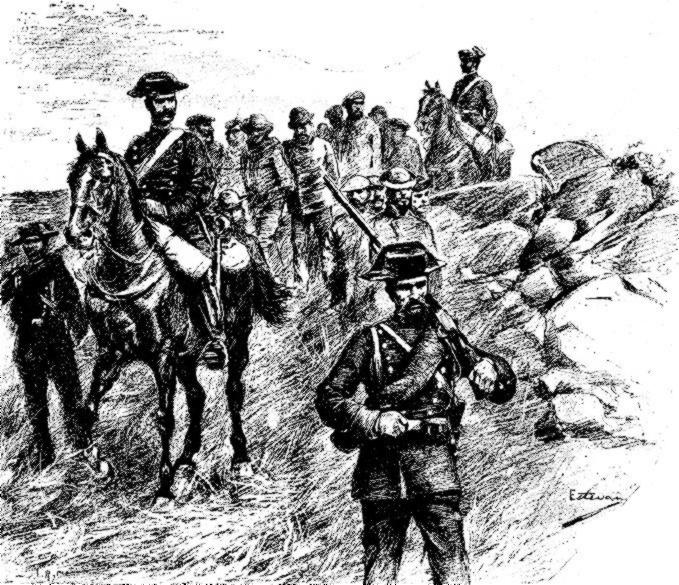 Conducció d'anarquistes per la Guàrdia Civil, segons un dibuix de D. E. Estevan