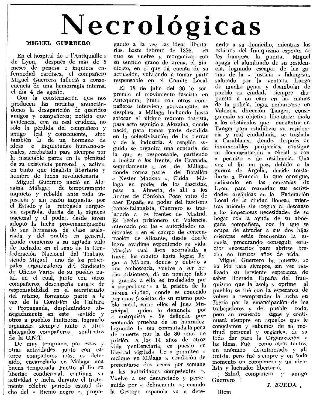 """Necrològica de Miguel Guerrero Sepúlveda apareguda en el periòdic tolosà """"Espoir"""" del 12 de desembre de 1965"""