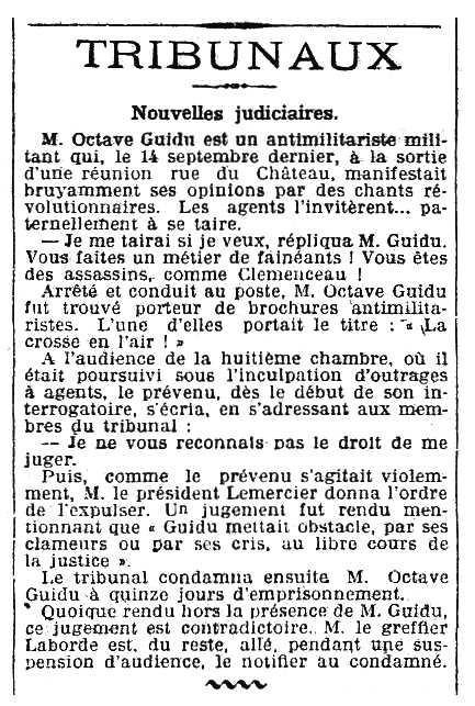 """Notícia del processament d'Octave Guidu apareguda en el periòdic parisenc """"Le Matin"""" del 15 d'octubre de 1908"""