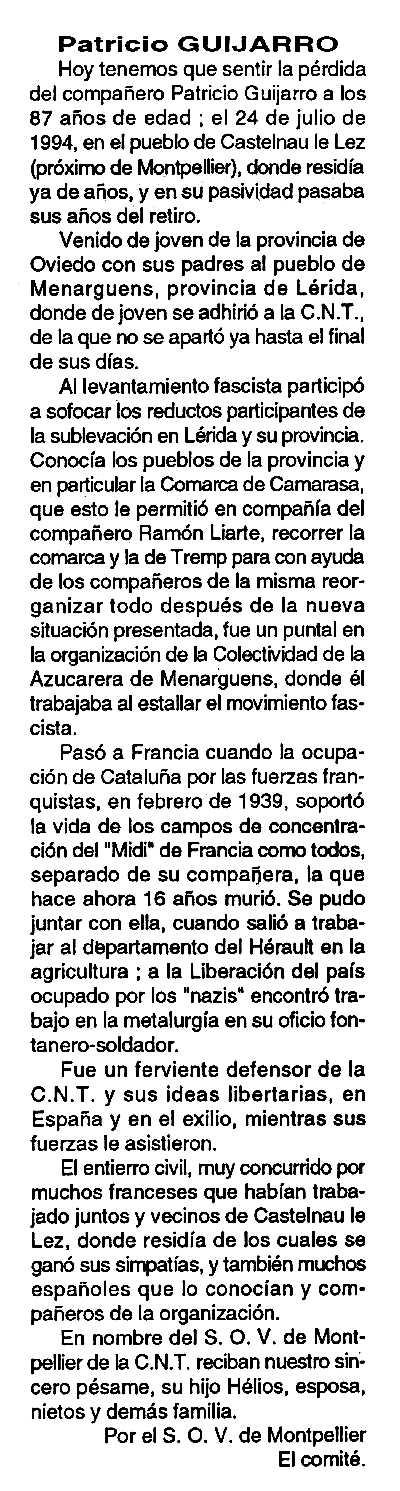 """Necrològica de Patricio Guijarro Mateo apareguda en el periòdic parisenc """"Cenit"""" de l'1 de novembre de 1994"""