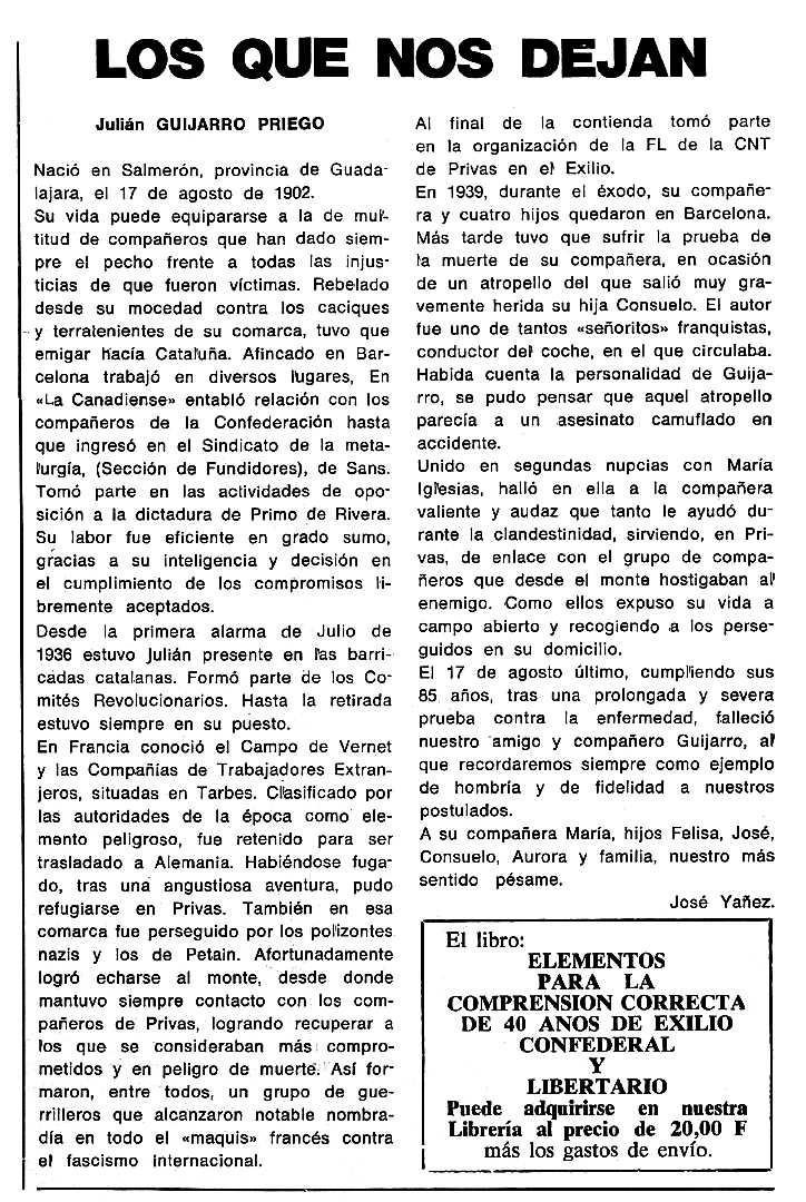 """Necrològica de Julián Guijarro Priego apareguda en el periòdic tolosà """"Cenit"""" del 8 de desembre de 1987"""