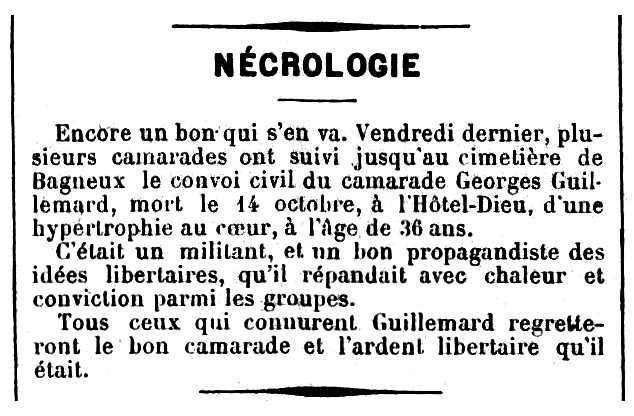 """Necrològica de Georges Guillemard apareguda en el periòdic parisenc """"Le Temps Nouveaux"""" del 24 d'octubre de 1896"""