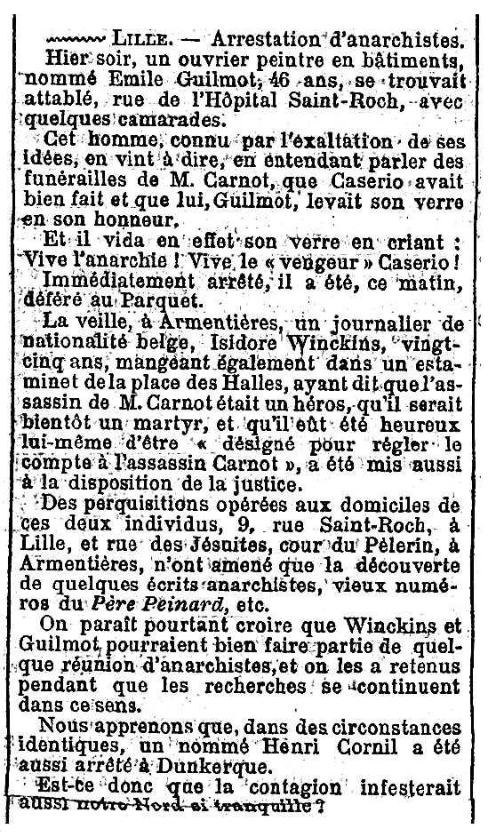"""Notícia del processament d'Émile Guilmot apareguda en el diari parisenc """"Figaro"""" del 3 de juliol de 1894"""