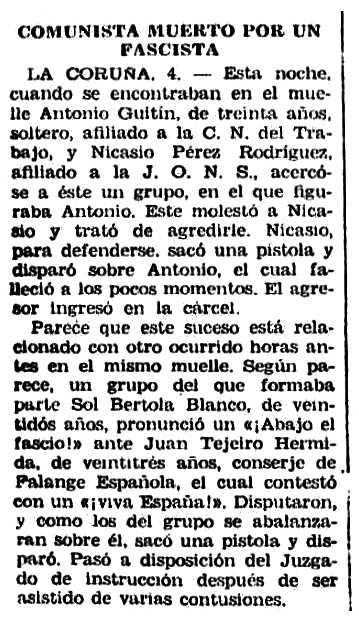 """Notícia sobre l'assassinat d'Antonio Guntín Dapena apareguda en el diari catòlic madrileny """"El Siglo Futuro"""" del 4 de juliol de 1935"""