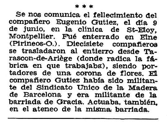 """Necrològica d'Eugenio Gútiez Espina apareguda en el periòdic tolosà """"CNT"""" del 16 d'octubre de 1955"""