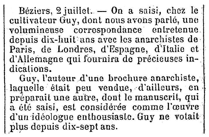 """Notícia de l'escorcoll del domicili de François Guy apareguda en el diari parisenc """"La Presse"""" del 3 de juliol de 1894"""