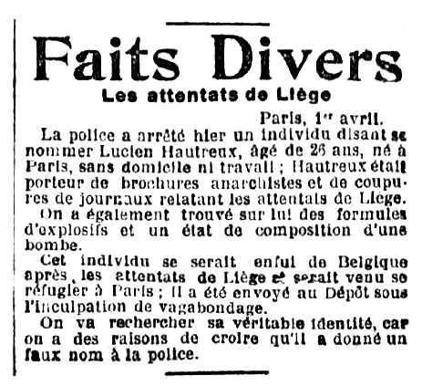 """Notícia de la detenció de Lucien Hautreux apareguda en el diari tolosà """"L'Express de Midi"""" del 2 d'abril de 1904"""