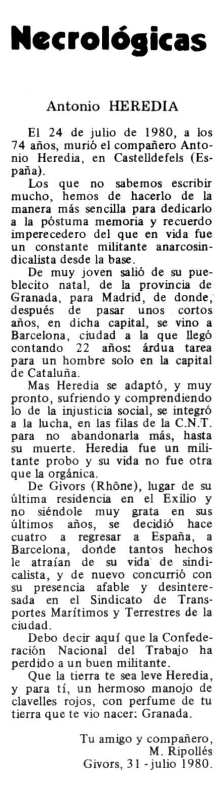 """Necrològica de Francisco Antonio Heredia Vico apareguda en el periòdic tolosà """"Espoir"""" del 21 de setembre de 1980"""