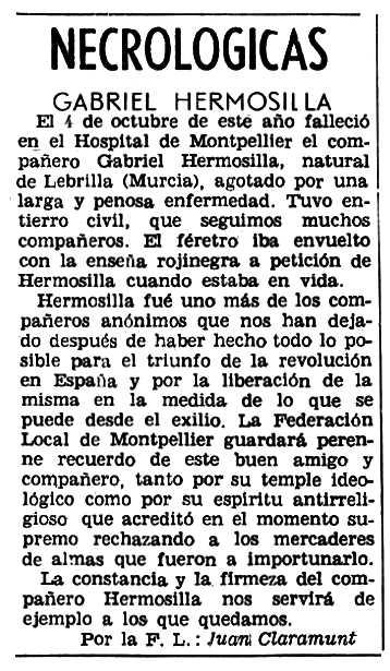 """Necrològica de Gabriel Hermosillo Alcón apareguda en el periòdic parisenc """"Solidaridad Obrera"""" del 19 de novembre de 1959"""