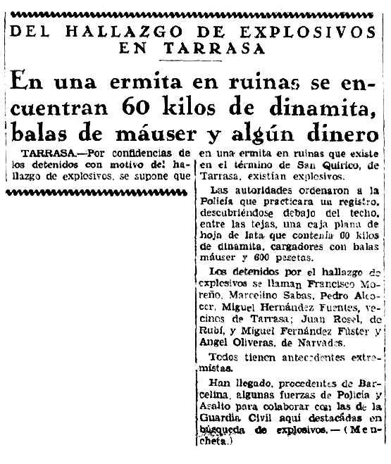 """Notícia de la detenció de Miguel Hernández Fuentes apareguda en el diari madrileny """"La Nación"""" del 14 de juliol de 1934"""