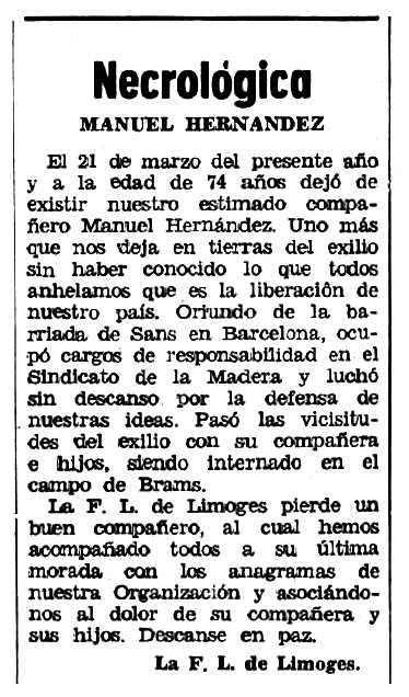 """Necrològica de Manuel Hernández García apareguda en el periòdic tolosà """"Espoir"""" del 7 de juny de 1970"""