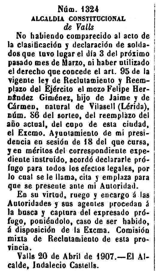 "Ordre de busca i cerca de Felipe Hernández Giménez apareguda en el ""Boletín Oficial de la provincia de Tarragona"" del 24 d'abril de 1907"