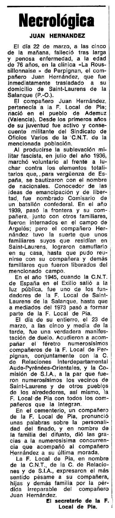 "Necrològica de Juan Hernández publicada en el periòdic tolosà ""Espoir"" del 4 d'agost de 1974"