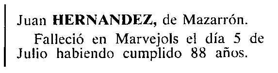 """Petita nota necrològica de Juan Hernández publicada en el periòdic tolosà """"Cenit"""" del 18 de setembre de 1984"""