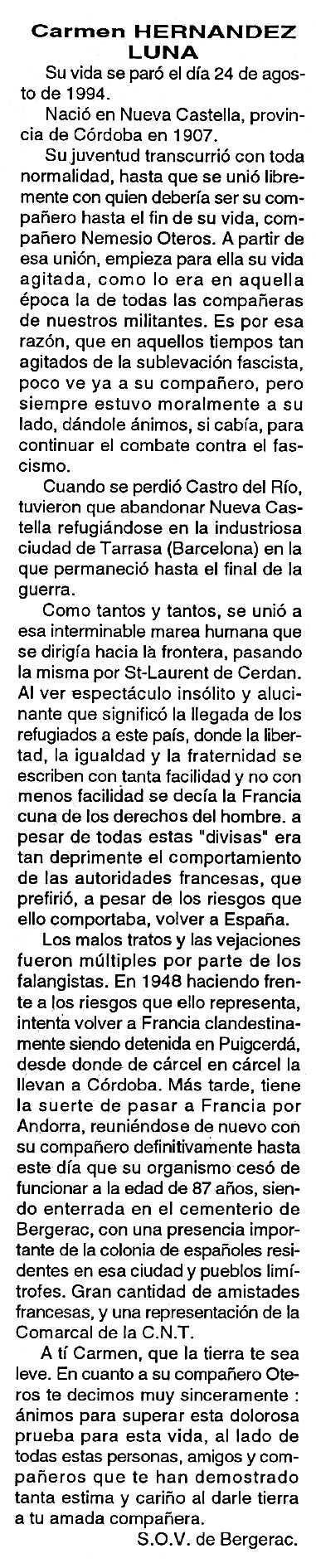 "Necrològica de Carmen Hernández Luna apareguda en el periòdic tolosà ""Cenit"" del 18 d'octubre de 1994"