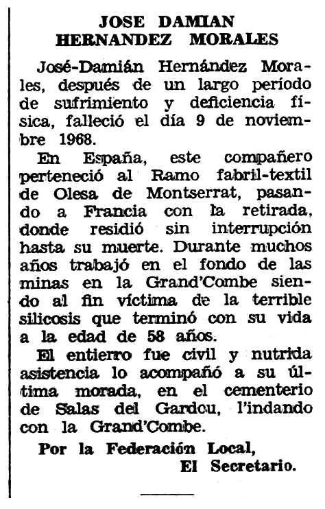"""Necrològica de José Damián Hernández Morales apareguda en el periòdic tolosà """"Espoir"""" del 19 de gener de 1969"""