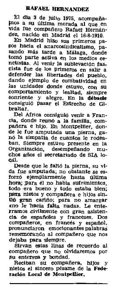 """Necrològica de Rafael Hernández apareguda en el periòdic parisenc """"Le Combat Syndicaliste"""" del 9 d'octubre de 1975"""