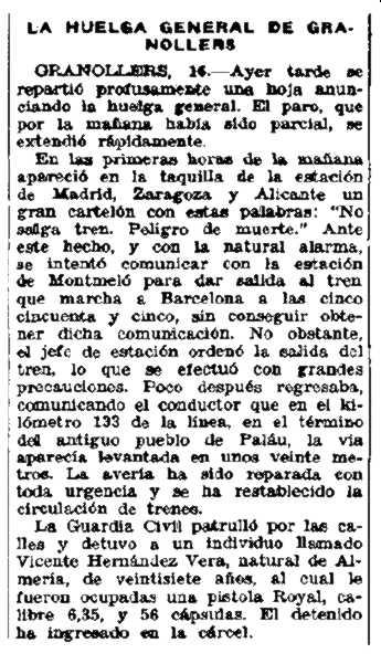 """Notícia de la detenció de Vicente Hernández Vera apareguda en el diari republicà madrileny """"Luz"""" del 16 de febrer de 1932"""