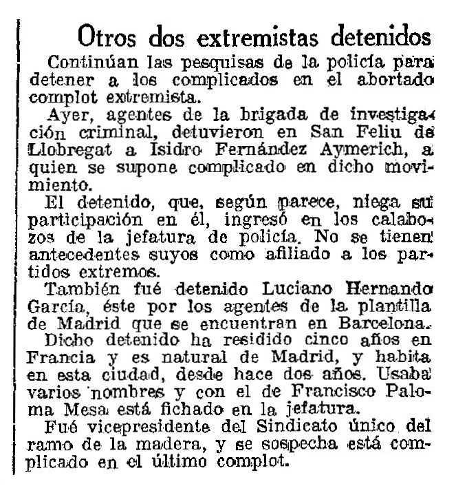 """Notícia de la detenció de Luciano Hernando García apareguda en el diari barceloní """"La Vanguardia"""" del 6 de gener de 1933"""