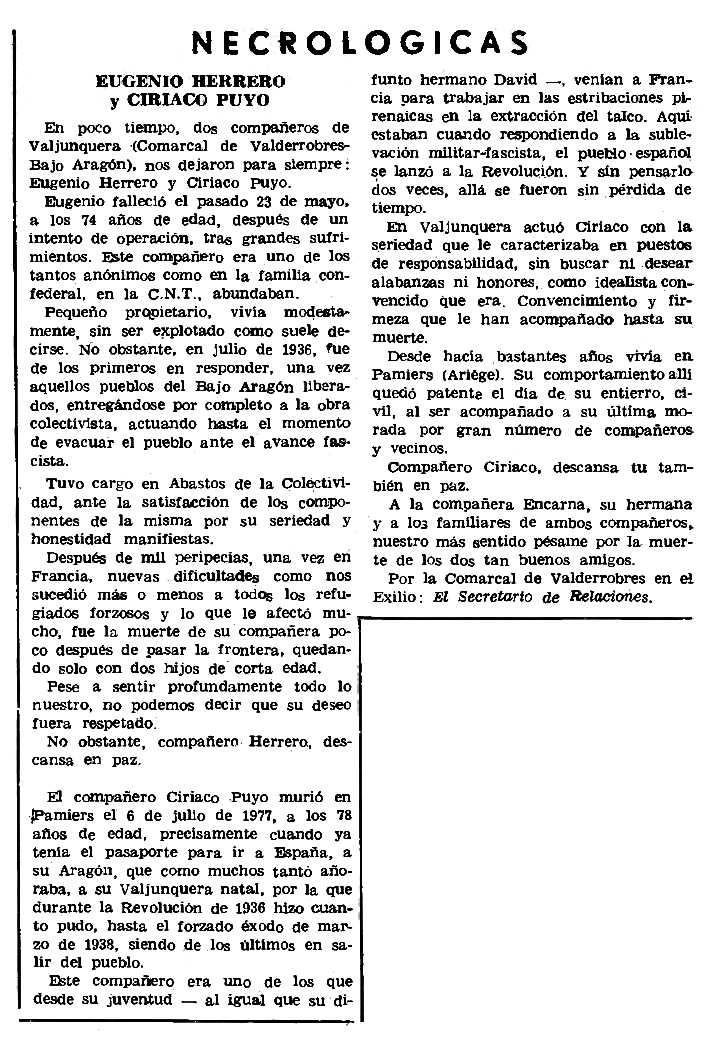 "Necrològiques d'Eugenio Herrero i Ciriaco Puyo aparegudes en el periòdic parisenc ""Le Combat Syndicaliste"" de l'1 de desembre de 1977"