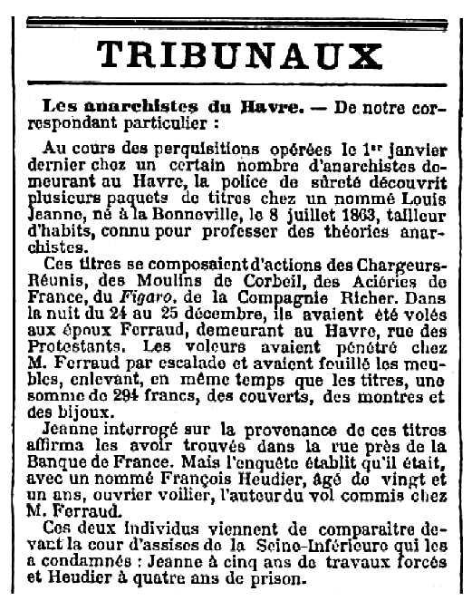 """Notícia sobre la condemna de François Heudier apareguda en el diar parisenc """"Le Temps"""" de l'1 de juny de 1894"""