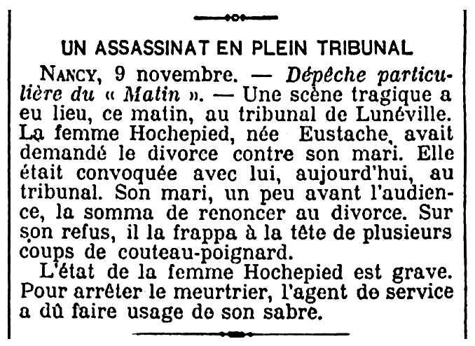 """Notícia de l'agressió d'Abel Hochepied a sa companya apareguda en el periòdic parisenc """"Le Matin"""" del 10 de novembre de 1904"""