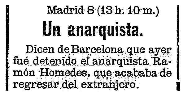 """Notícia de la detenció de Ramon Homedes Carbó publicada en el periòdic zamorà """"Heraldo de Zamora"""" del 8 d'agost de 1903"""