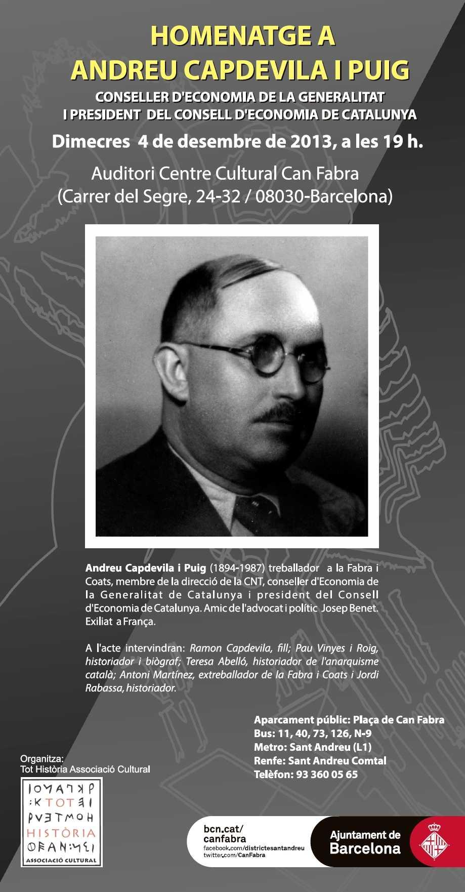 Cartell de l'homenatge a Andreu Capdevila Puig