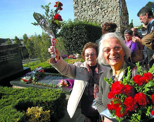 Colette Durruti (dreta) amb Joaquina Dorado a Montjuïc (19 de novembre de 2006) [Foto: Samuel Aranda]