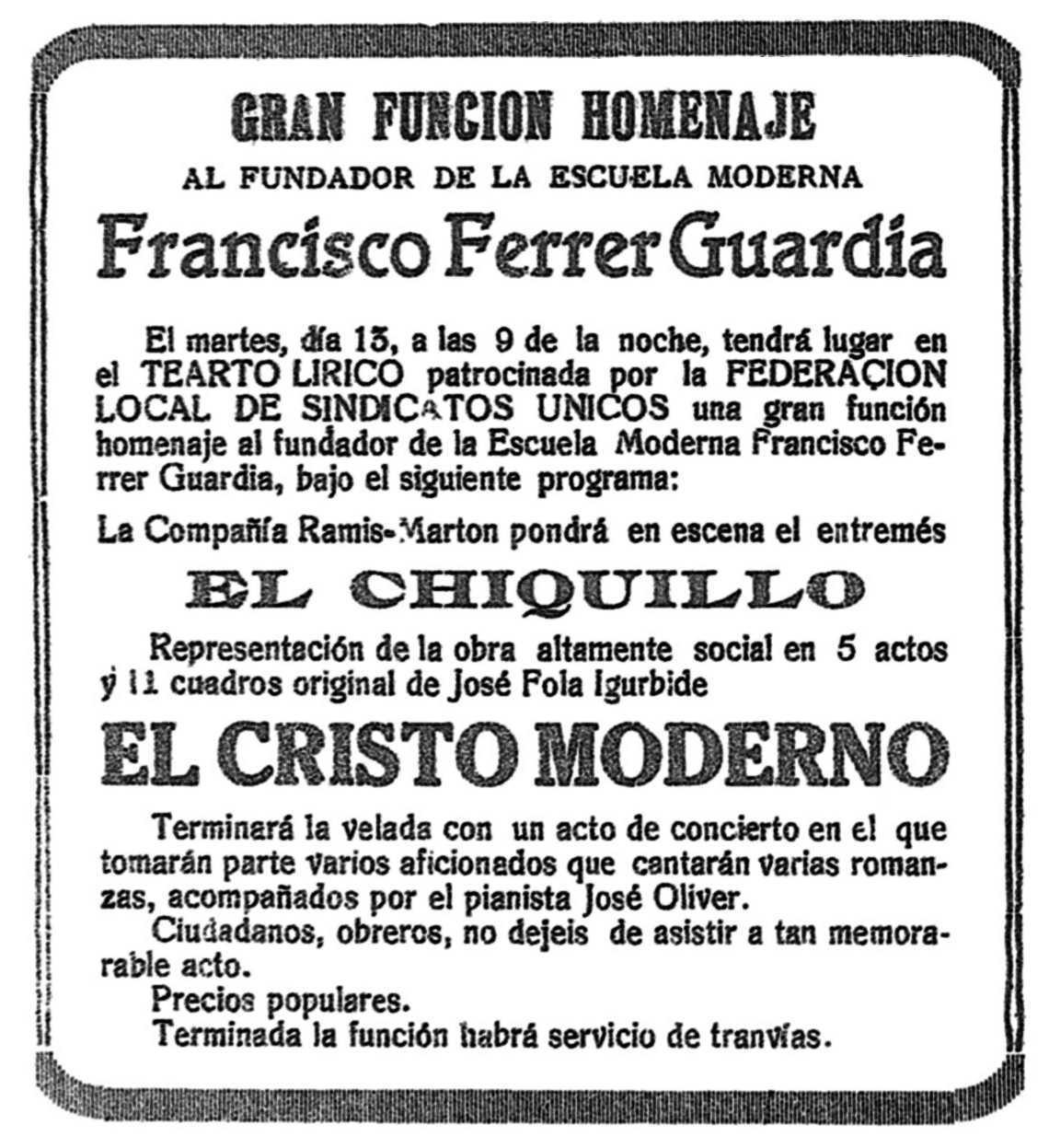 """Propaganda de l'acte apareguda en el número 6 de """"Cultura Obrera"""" del 17 d'octubre de 1931"""