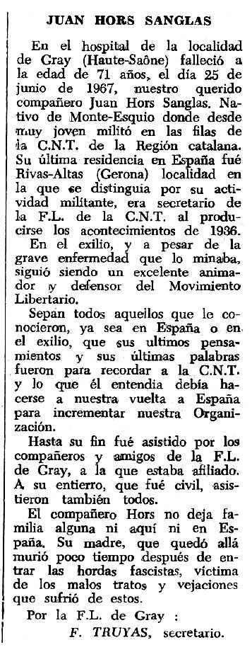 """Necrològica de Joan Hors Sanglas apareguda en el periòdic tolosà """"Espoir"""" del 17 de setembre de 1967"""