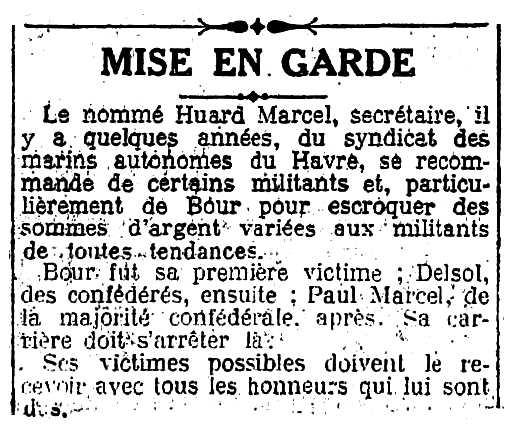 """Notícia sobre la campanya contra Marcel Huard publicada en el periòdic comunista parisenc """"L'Humanité"""" del 30 de gener de 1931"""
