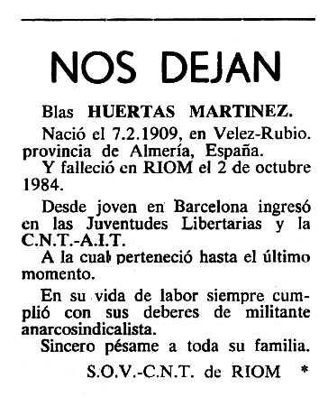"""Necrològica de Blas Huertas Martínez apareguda en el periòdic tolosà """"Cenit"""" del 19 de febrer de 1985"""