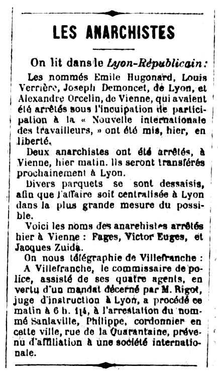"""Notícia sobre la detenció d'Émile Hugonnard apareguda en el diari de Dijon """"Le Progrès de la Côte-d'Or"""" del 8 de desembre de 1882"""