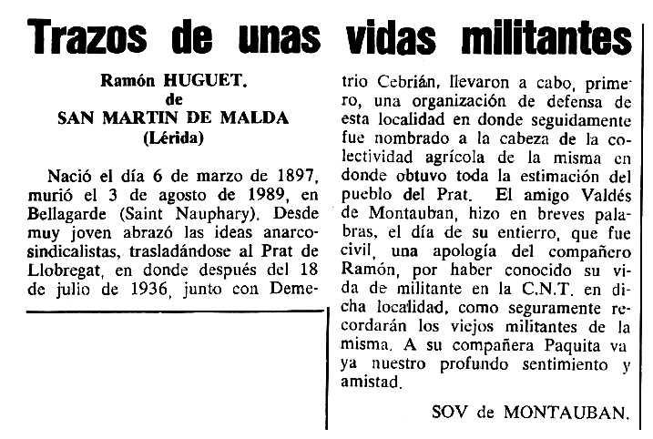 """Necrològica de Ramon Huguet Cañelles apareguda en el periòdic tolosà """"Cenit"""" del 24 d'octubre de 1989"""