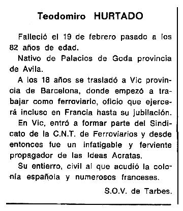 """Necrològica de Teodomiro Hurtado Rodríguez apareguda en el periòdic tolosà """"Cenit"""" del 25 de març de 1986"""
