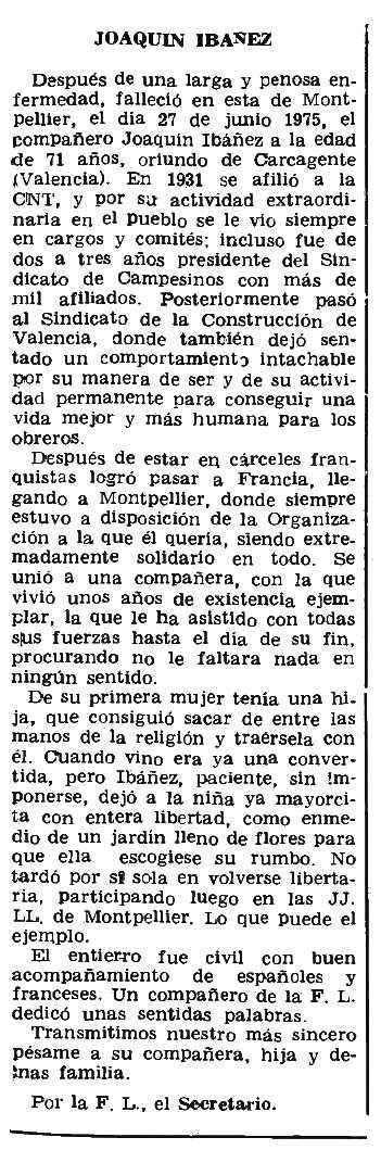 """Necrològica de Joaquín Ibáñez apareguda en el periòdic parisenc """"Le Combat Syndicaliste"""" del 9 d'octubre de 1975"""