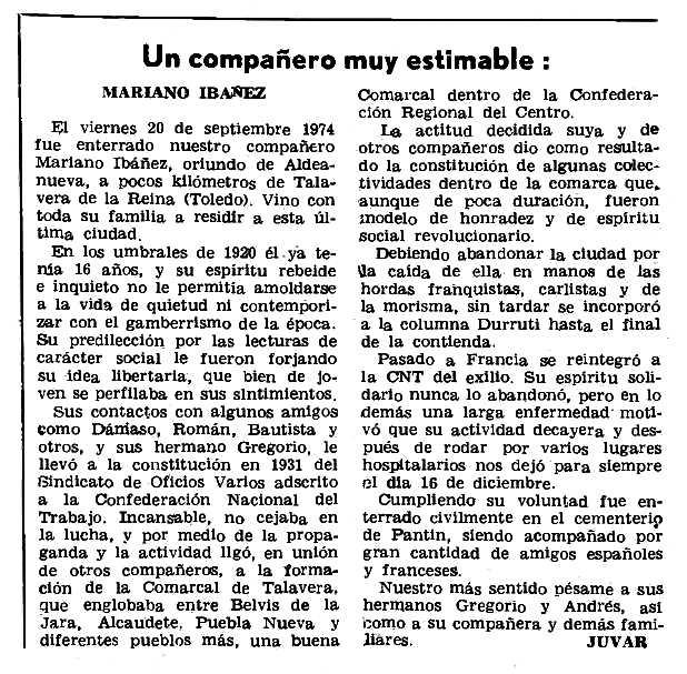 """Necrològica de Mariano Ibáñez apareguda en el periòdic parisenc """"Le Combat Syndicaliste"""" del 9 de gener de 1975"""
