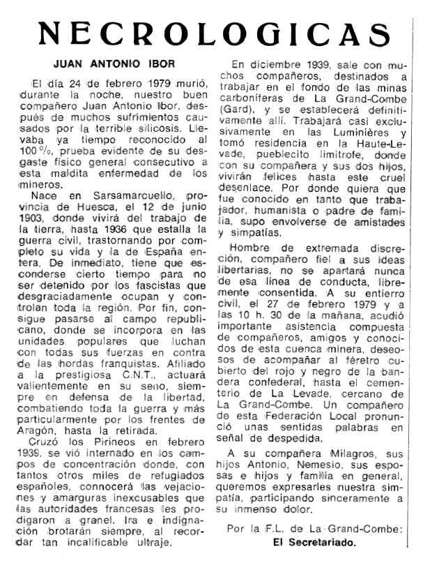 """Necrològica de Juan Antonio Ibor apareguda en el periòdic tolosà """"Espoir"""" de l'11 d'abril de 1979"""