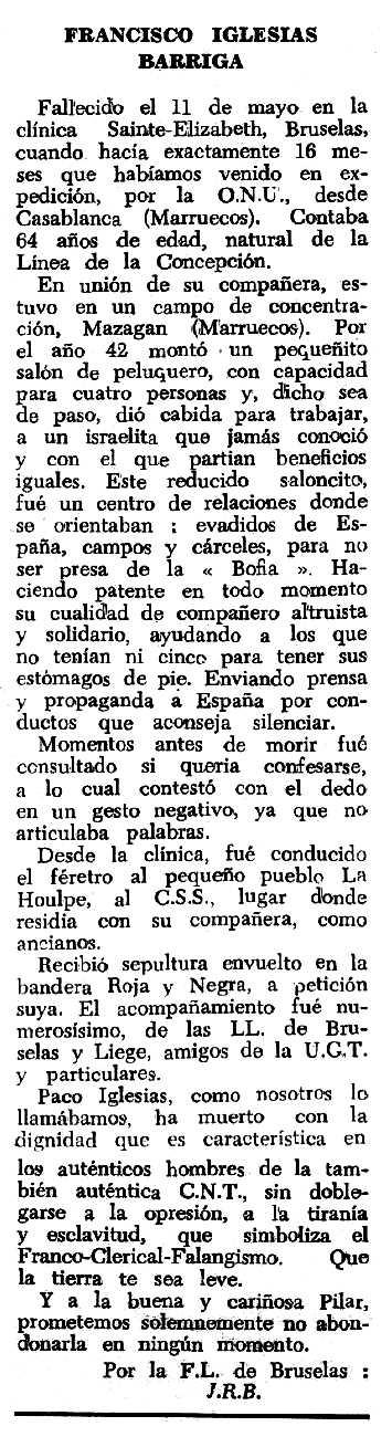 "Necrològica de Francisco Iglesias Barriga apareguda en el periòdic tolosà ""Espoir"" del 7 d'agost de 1966"