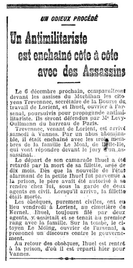 """Notícia del processament de Jean-Michel Ihuel apareguda en el diari parisenc """"L'Humanité"""" del 2 de desembre de 1907"""