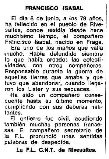 """Necrològica de Francisco Isabal Begué apareguda en el periòdic tolosà """"Espoir"""" del 23 de juliol de 1979"""