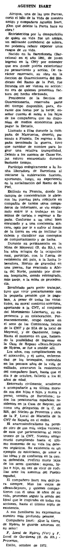 """Necrològica d'Agustí Isart Oliver apareguda en el periòdic parisenc """"Le Combat Syndicaliste"""" del 23 de novembre de 1972"""