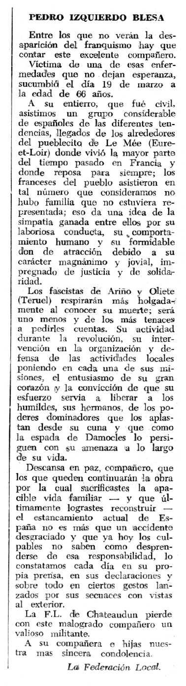 """Necrològica de Pedro Izquierdo Blesa apareguda en el periòdic tolosà """"Espoir"""" del 18 de juny de 1967"""