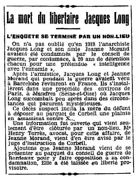 """Notícia sobre la investigació de la mort de Jacques Long apareguda en el diari parisenc """"L'Humanité"""" del 12 d'abril de 1922"""