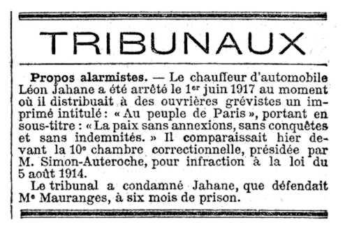 """Notícia del judici de Léon Jahane apareguda en el periòdic parisenc """"Le Temps"""" del 22 de juny de 1917"""