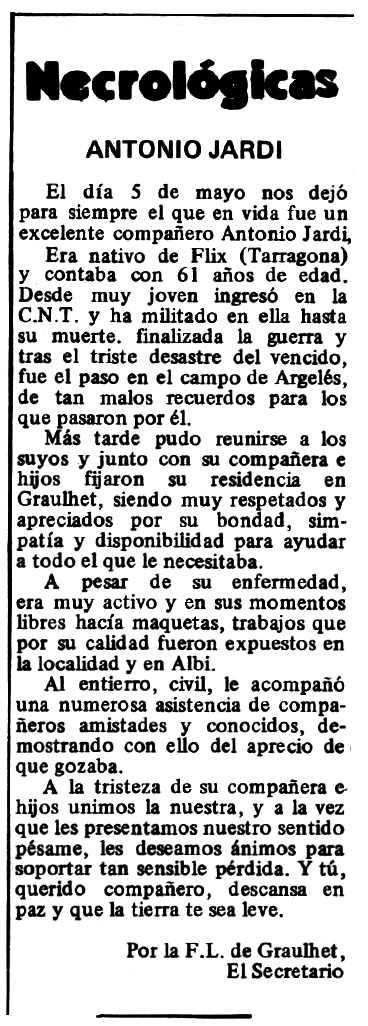 """Necrològica d'Antoni Jardí Escoda apareguda en el periòdic tolosà """"Espoir"""" del 26 de juliol de 1980"""