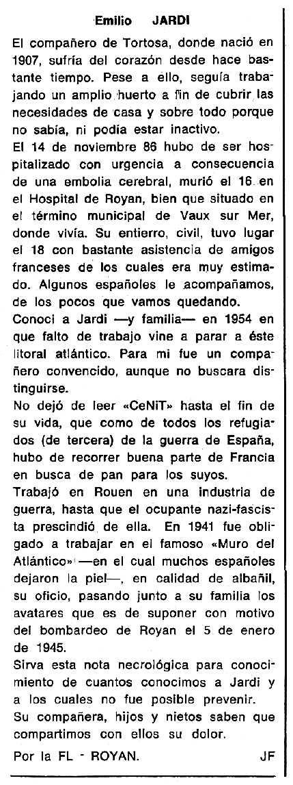 """Necrològica d'Emili Jardí Pastor apareguda en el periòdic tolosà """"Cenit"""" del 10 de febrer de 1987"""
