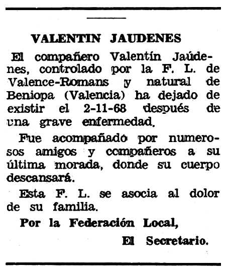 """Necrològica de Valentín Jáudenes Pla apareguda en el periòdic tolosà """"Espoir"""" del 19 de gener de 1969"""
